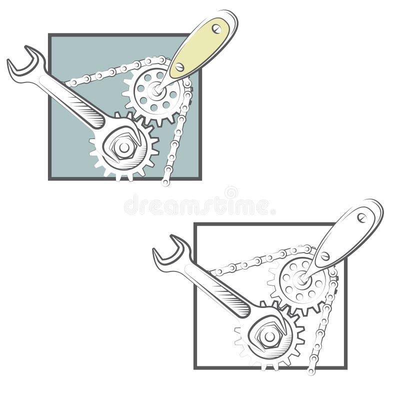 иллюстрация состоя из 2 изображений ключа и screwdrive иллюстрация вектора
