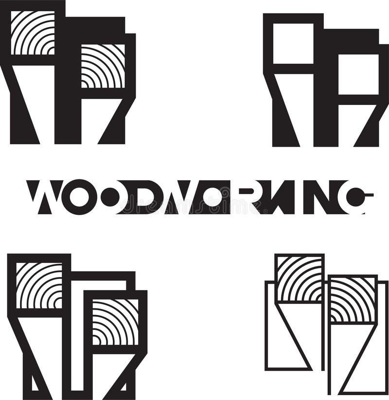 """иллюстрация состоя из нескольких изображений отрезанной части deoev и надписи """"woodworking """" иллюстрация штока"""