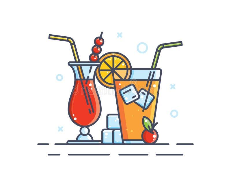 Иллюстрация спиртных коктеилей стоковая фотография