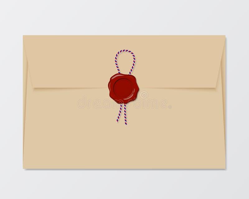 Иллюстрация старого конверта с красным уплотнением воска и покрашенным strin иллюстрация штока