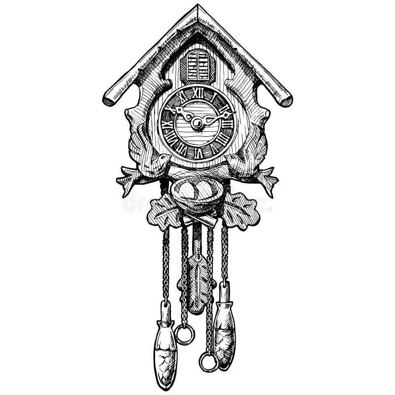 Иллюстрация старых часов с кукушкой бесплатная иллюстрация