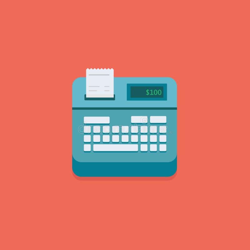 Иллюстрация стержня оплаты pos супермаркета Плоские кассовый аппарат и кнопочная панель иллюстрация вектора