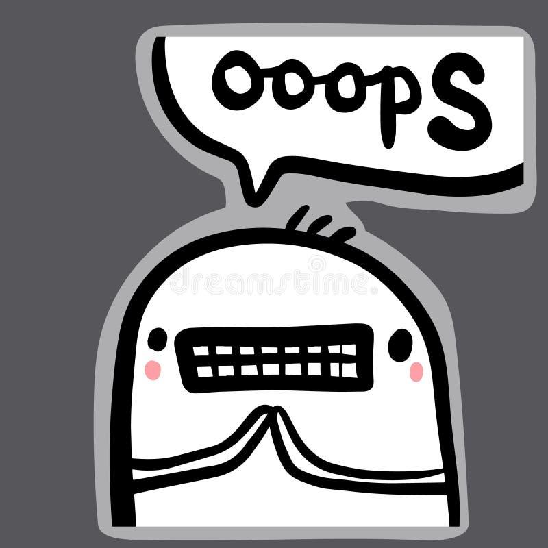 Иллюстрация стикера руки Ooops вычерченная в стиле мультфильма бесплатная иллюстрация