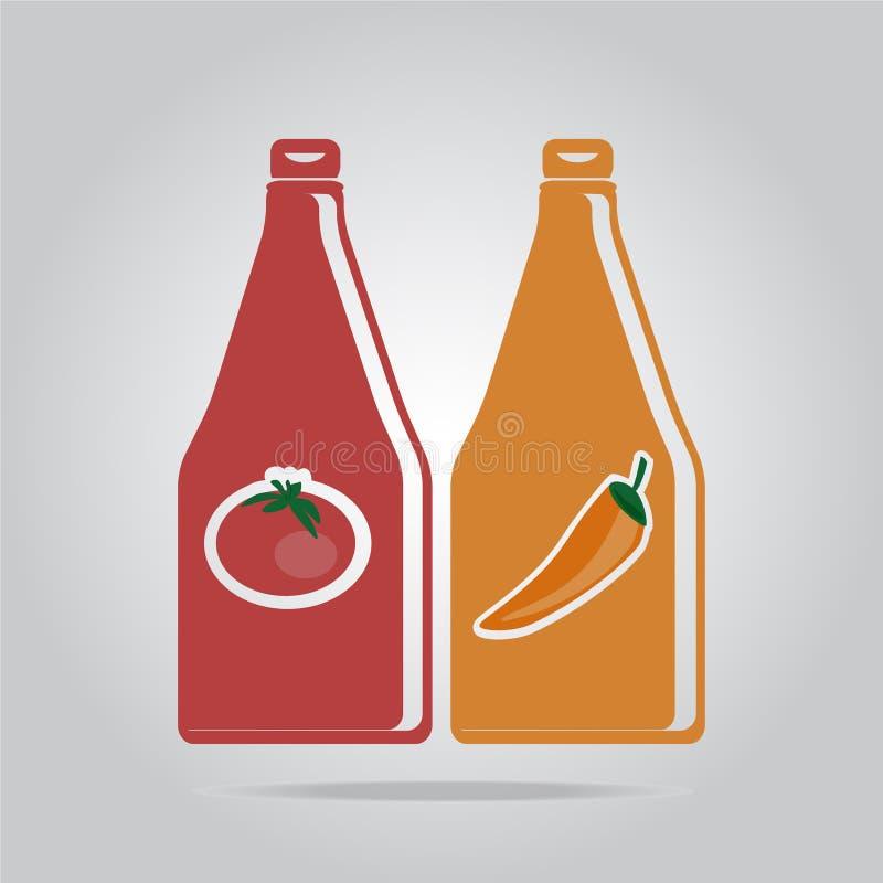 Иллюстрация стиля значка бутылки соуса плоская бесплатная иллюстрация