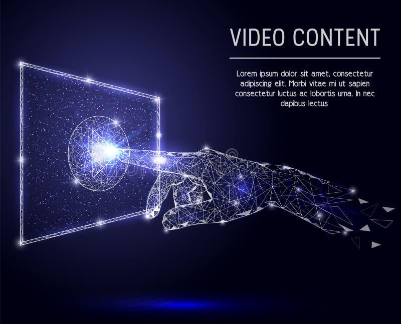 Иллюстрация стиля искусства видео- вектора содержания полигональная иллюстрация штока