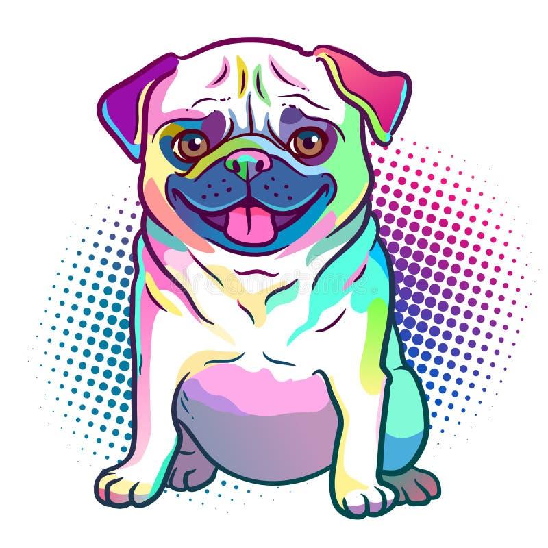 Иллюстрация стиля искусства шипучки собаки мопса в ярких неоновых цветах радуги иллюстрация штока