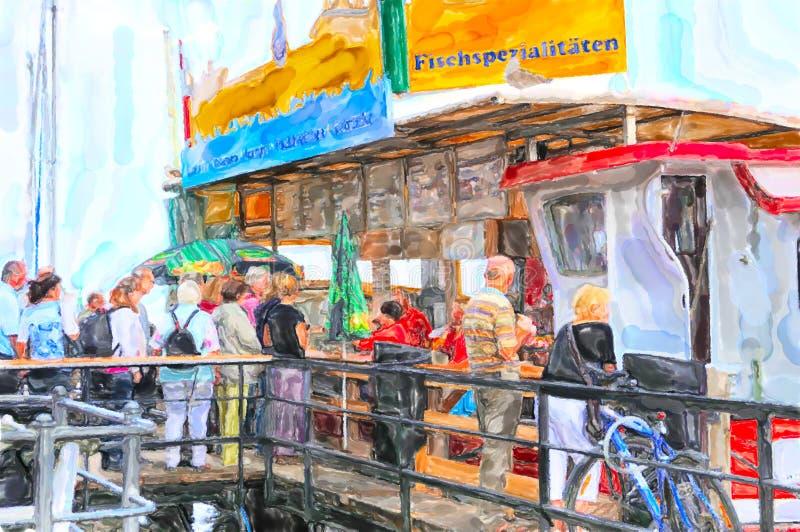 Иллюстрация стойла рынка бургера рыб на корабле в Балтийском море Warnemu иллюстрация штока