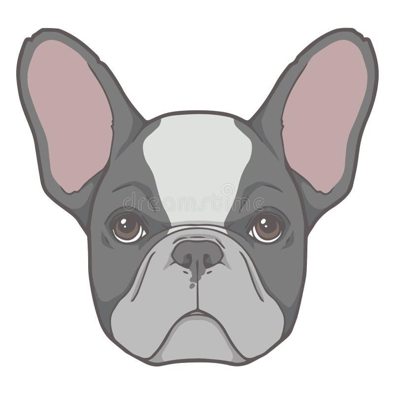 Иллюстрация стороны вектора черно-белой пестрой собаки французского бульдога иллюстрация вектора