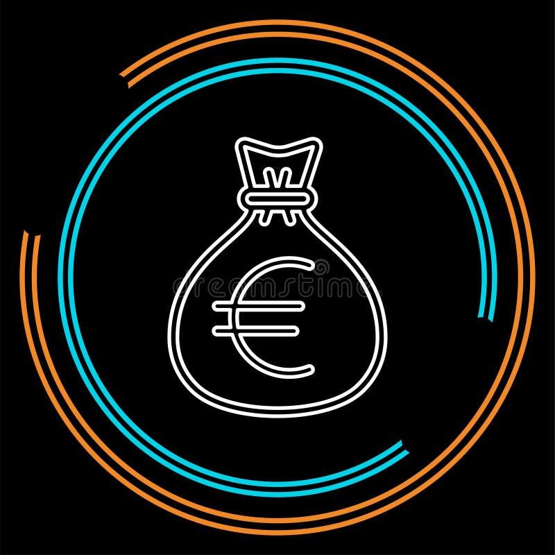Иллюстрация сумки денег евро - вектор иллюстрация штока