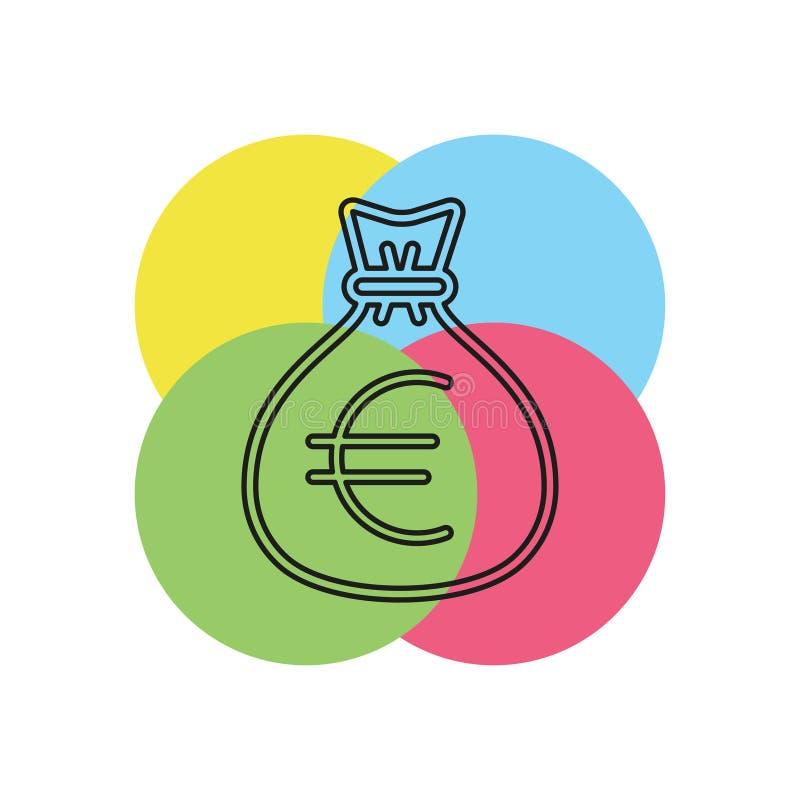 Иллюстрация сумки денег евро - вектор бесплатная иллюстрация