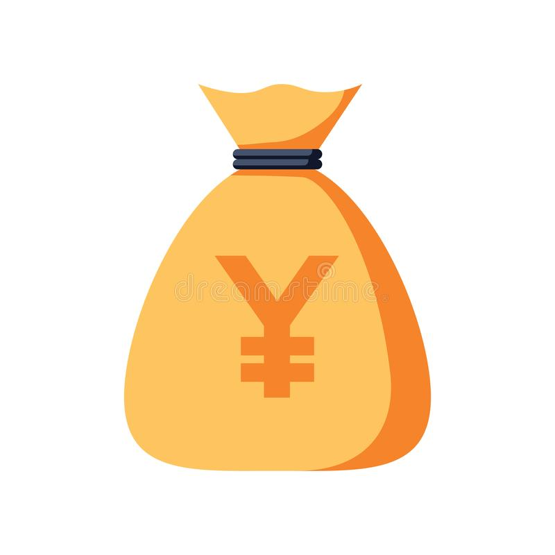Иллюстрация сумки денег иен Символ иен вектора изолированный на белой предпосылке иллюстрация вектора
