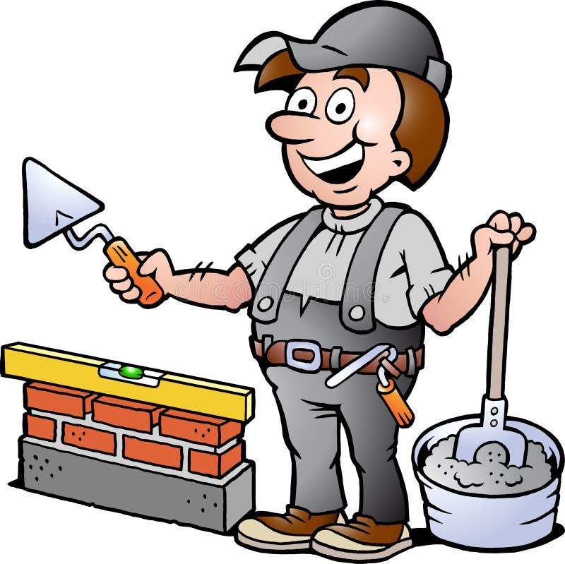 Иллюстрация счастливого разнорабочего каменщика иллюстрация вектора
