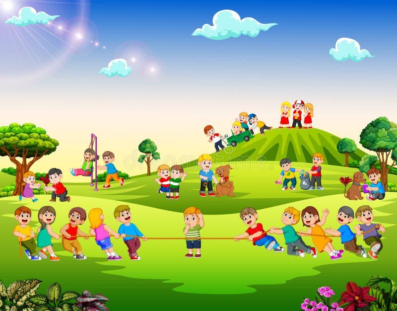 Счастливые дети играя снаружи бесплатная иллюстрация