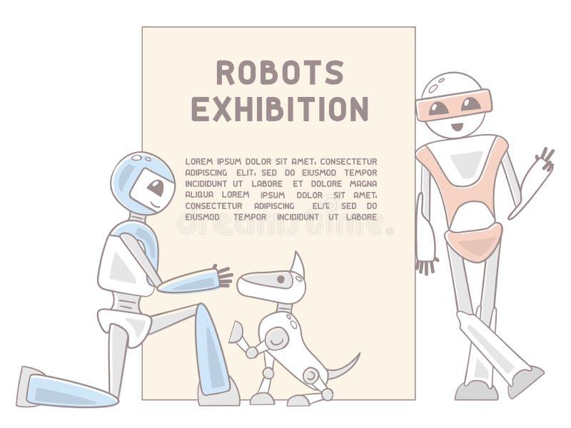 Иллюстрация с андроид, собакой робота и текстом образца иллюстрация штока