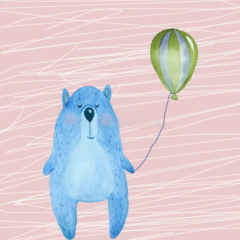 Иллюстрация с голубым медведем иллюстрация штока
