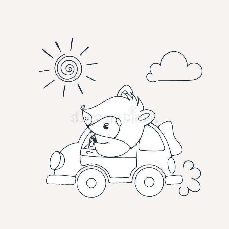 Иллюстрация с жизнерадостным енотом в автомобиле бесплатная иллюстрация