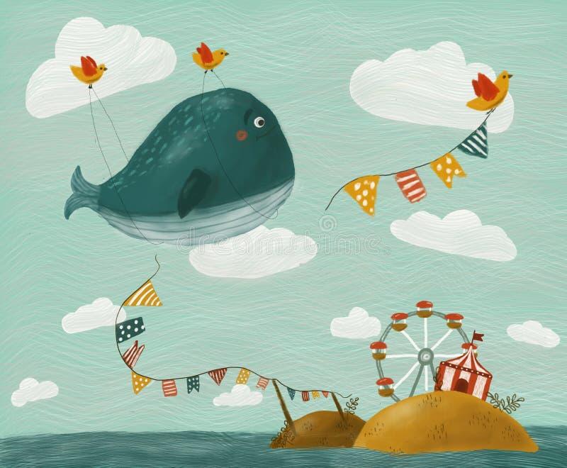Иллюстрация с китом иллюстрация вектора