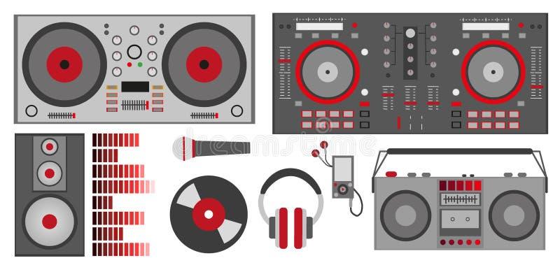 Иллюстрация с красным управлением DJ аксессуаров DJ, наушники вектора, диктор, сабвуфер, выравниватель, показатель винила, микроф иллюстрация вектора