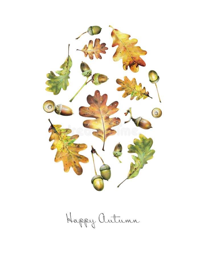 Иллюстрация с листьями дуба и жолудей покрашенных с покрашенными карандашами иллюстрация вектора