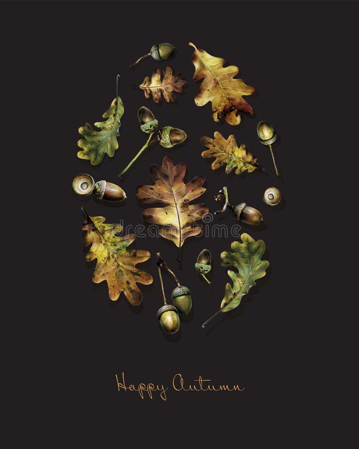 Иллюстрация с листьями дуба и жолудей покрашенных с покрашенными карандашами бесплатная иллюстрация