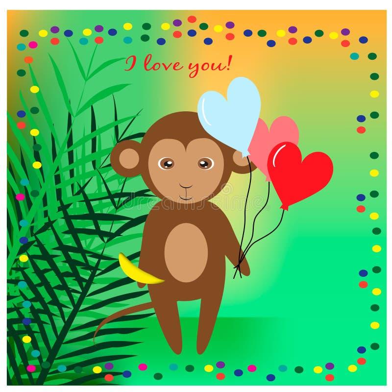 Иллюстрация с милой обезьяной в джунглях с 3 воздушными шарами иллюстрация штока