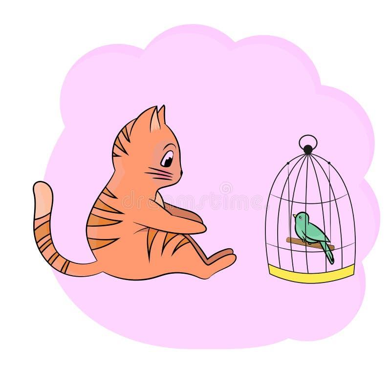 Иллюстрация с милым котенком и пташкой стоковое изображение