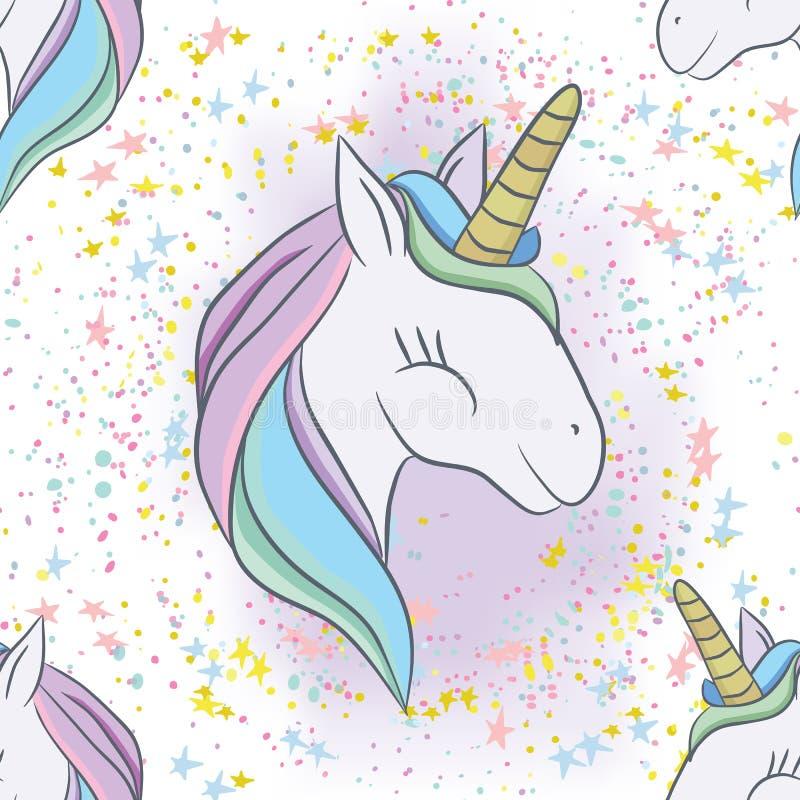 Иллюстрация с милым мистическим животным единорога иллюстрация штока