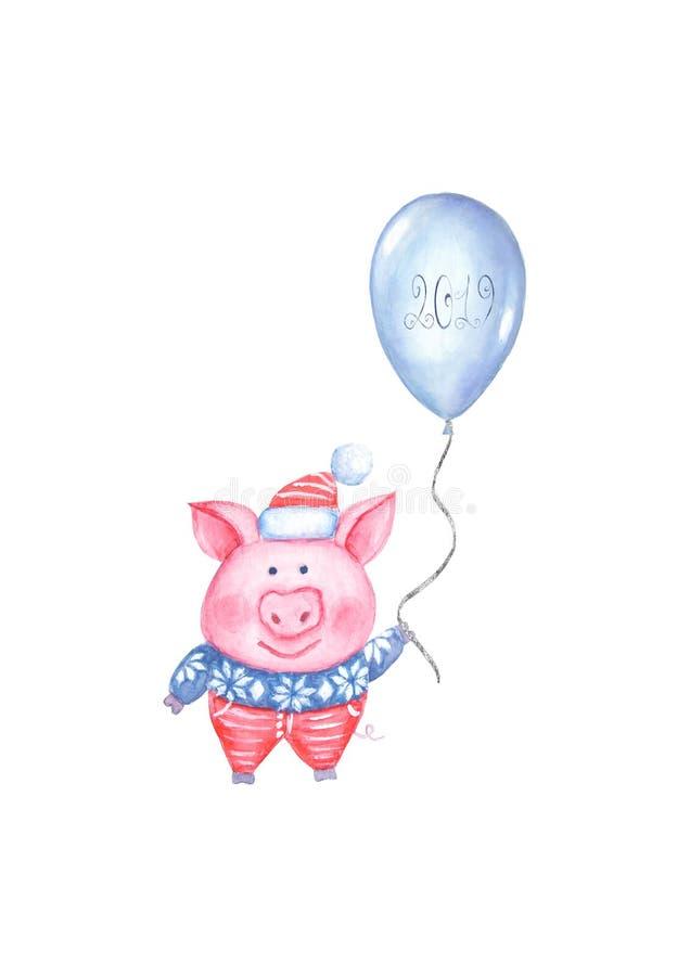 2019 иллюстрация С Новым Годом! и рождества со свиньей акварели иллюстрация вектора