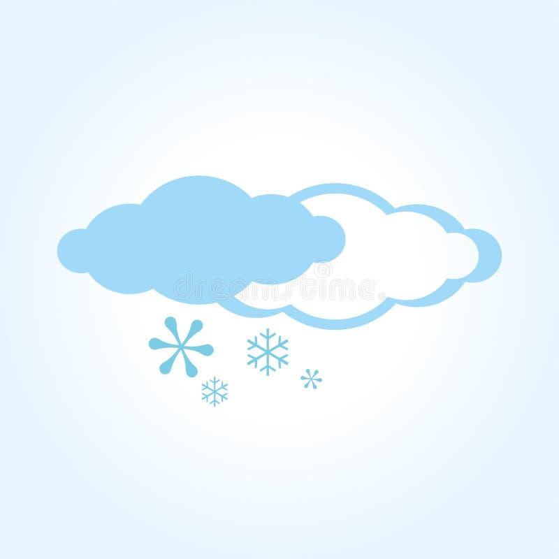 Значок снега Иллюстрация с 2 облаками и снежинками, снегом, холодом иллюстрация вектора