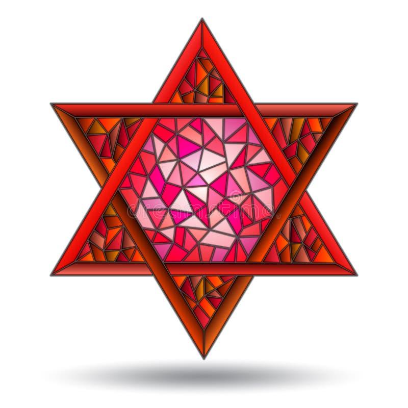 Иллюстрация с 6-остроконечной красной звездой в стиле цветного стекла на белом изоляте предпосылки бесплатная иллюстрация