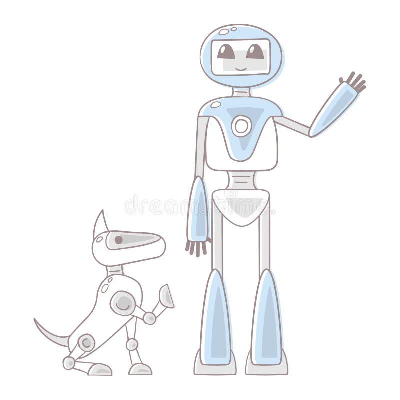 Иллюстрация с роботом и собакой робота бесплатная иллюстрация