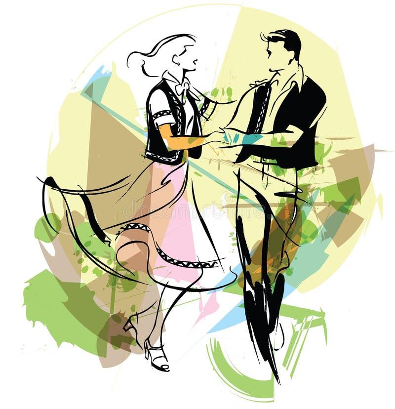 иллюстрация танцоров иллюстрация вектора