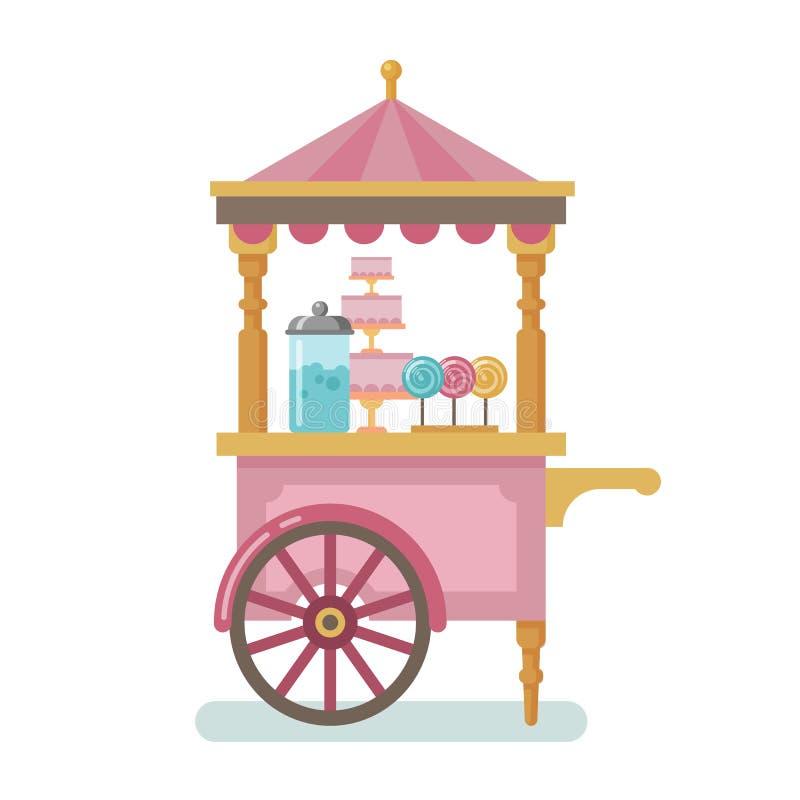 Иллюстрация тележки конфеты плоская стоковые фотографии rf