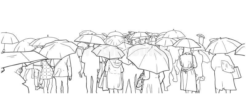 Иллюстрация толпы людей ждать на скрещивании улицы в дожде с пальто и зонтиками дождя иллюстрация вектора