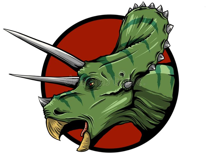 Иллюстрация трицератопс от семьи больших horned динозавров на зеленой предпосылке Серия доисторического иллюстрация штока
