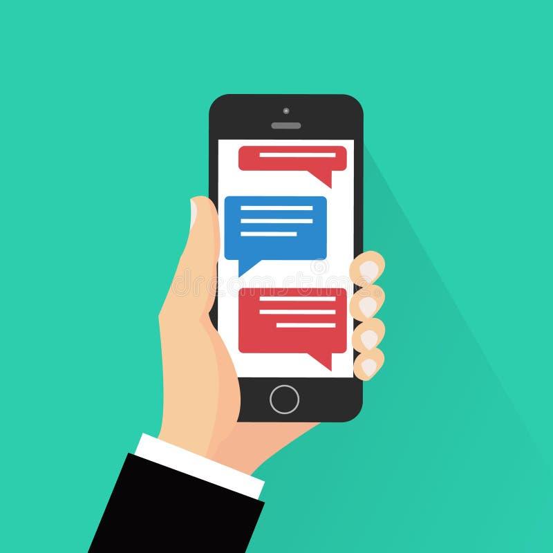 Иллюстрация уведомлений сообщения болтовни мобильного телефона на предпосылке цвета, руке с smartphone и беседуя пузыре иллюстрация вектора