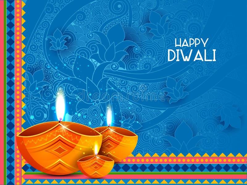Иллюстрация украшенного diya для счастливой предпосылки праздника Diwali иллюстрация штока