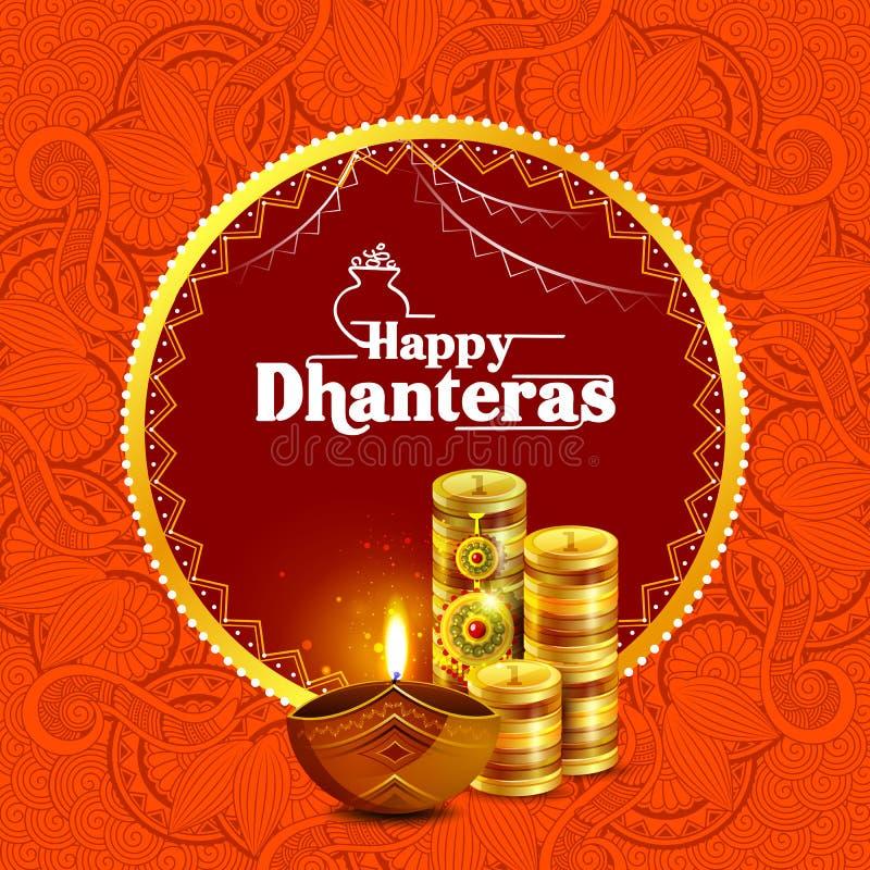 Иллюстрация украшенной счастливой предпосылки праздника Dhanteras Diwali бесплатная иллюстрация