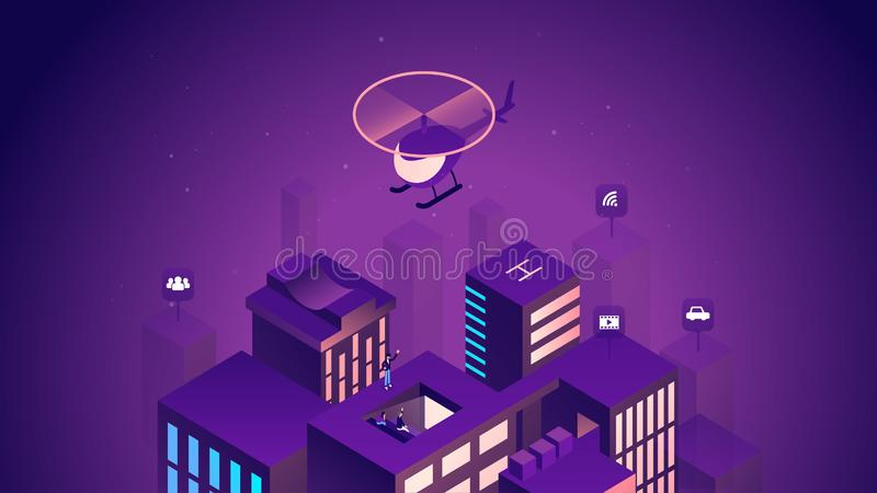 Иллюстрация умного города равновеликая Умные здания Интернет концепции вещей Деловый центр с небоскребами иллюстрация вектора