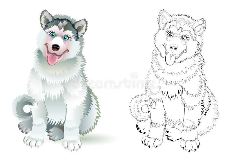 Иллюстрация фантазии милой собаки лайки усаживания Красочная и черно-белая страница для книжка-раскраски Рабочее лист для детей бесплатная иллюстрация