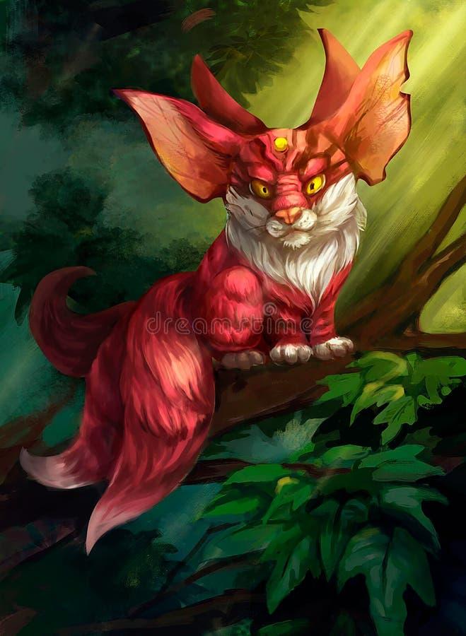 Иллюстрация фантастического животного в лесе иллюстрация вектора