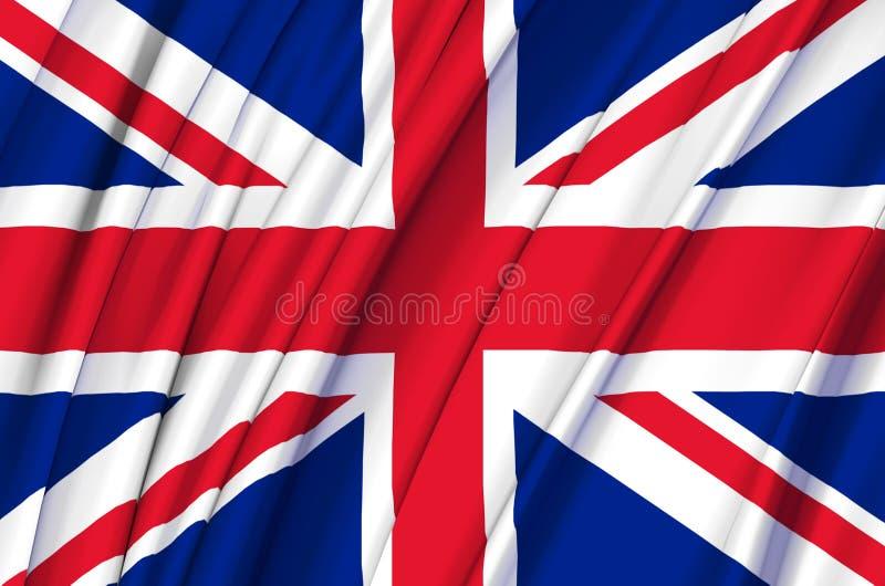 Иллюстрация флага Великобритании развевая иллюстрация штока