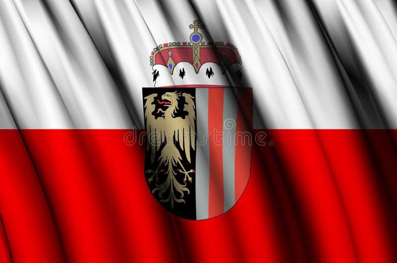 Иллюстрация флага Верхней Австрии развевая бесплатная иллюстрация