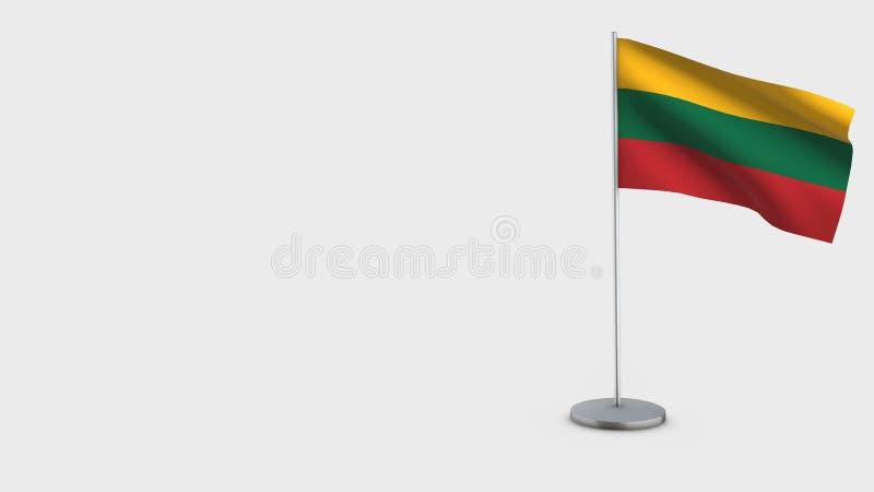 Иллюстрация флага Литвы 3D развевая иллюстрация штока