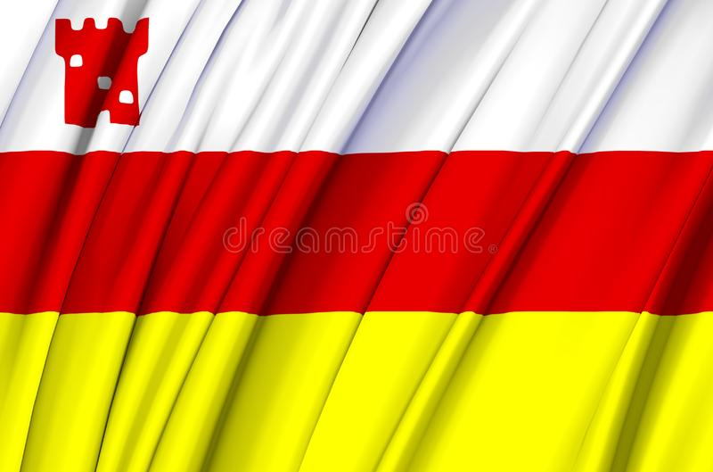 Иллюстрация флага Санта-Барбара Калифорния развевая иллюстрация штока