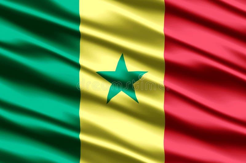 Иллюстрация флага Сенегала реалистическая иллюстрация вектора