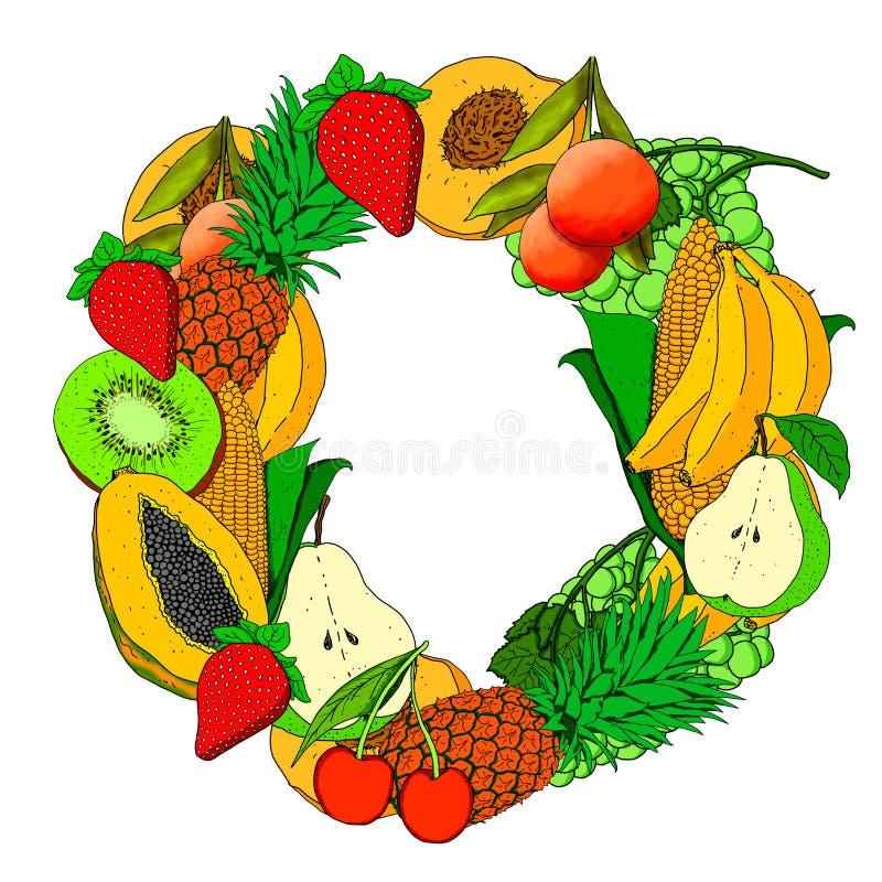 Иллюстрация фона с фруктами всех цветов и слово 'Веган' в середине стоковое изображение