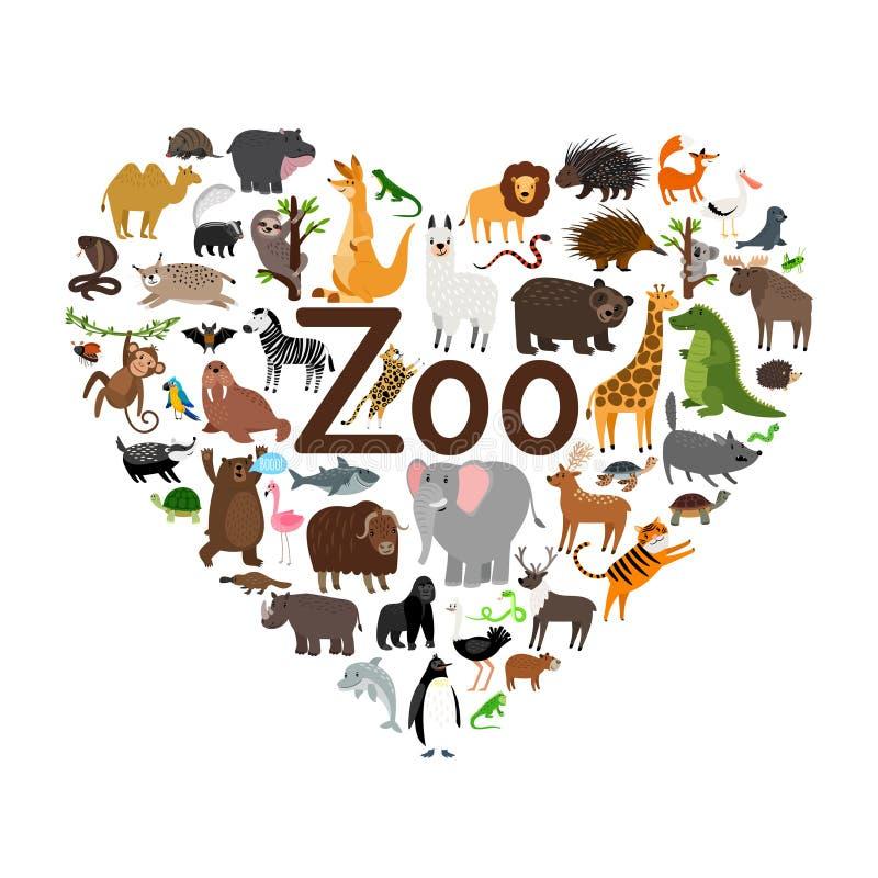 Иллюстрация формы сердца зоопарка иллюстрация вектора