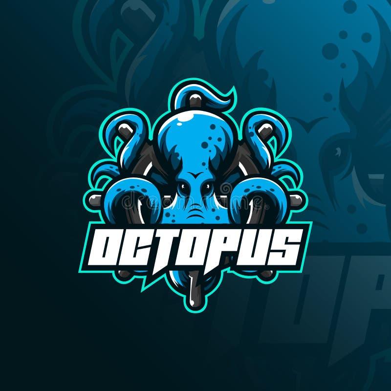 Иллюстрация, футболка и эмблема дизайна логотипа талисмана спорта осьминога сердитая иллюстрация осьминога с управляя кругом иллюстрация штока