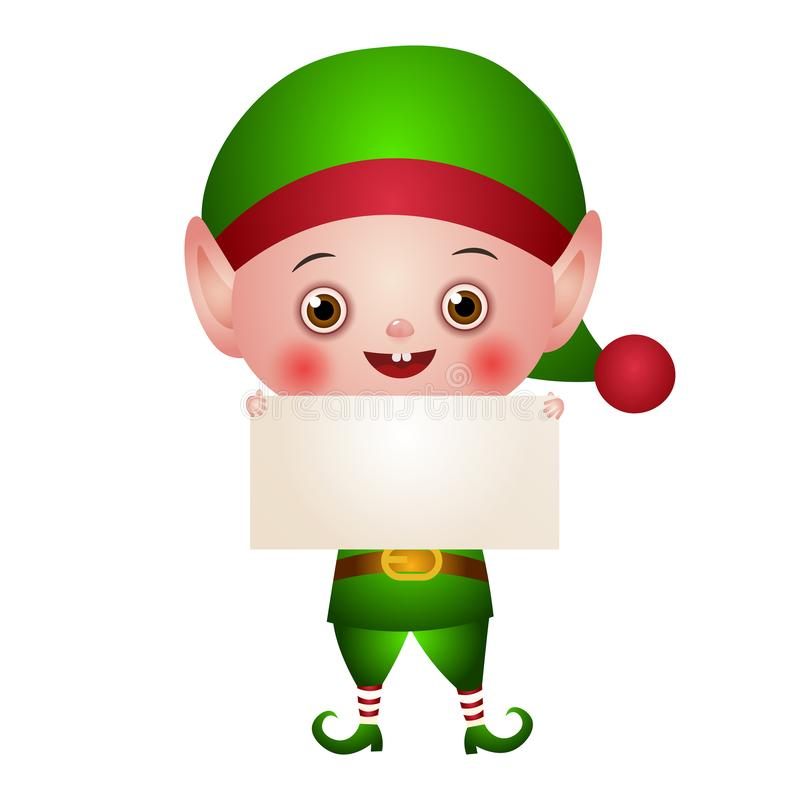 Иллюстрация характера Эльф рождества милый иллюстрация вектора